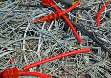 Skein of copper wires in a controlled landfill Royalty Free Stock Photo