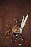Skein of jute twine and old scissors Royalty Free Stock Photo