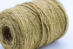 Skein of jute twine on the white Royalty Free Stock Images