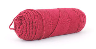 Skein of red acrylic yarn Royalty Free Stock Photos