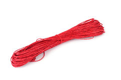 Skein of red string on a white background Stock Photography