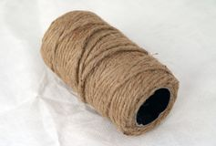 Skein of Rope jute on the white background. royalty free stock photos
