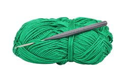 Skein of wool and crochet hook Stock Images