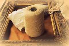 Skein of wool and frame Royalty Free Stock Photo