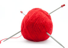 The skein of wool with knitting needles Stock Images