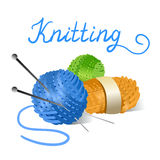 Skein of yarn and knitting needles Royalty Free Stock Image