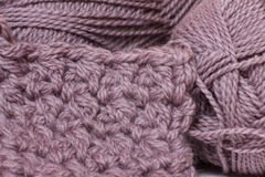 Skein of yarn mocha color and knitting Royalty Free Stock Photography