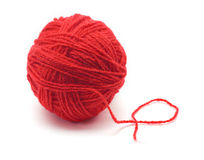 Skein of yarn in red Royalty Free Stock Images