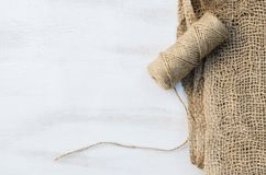 Skeinjute tvinnar och säckväv Fotografering för Bildbyråer