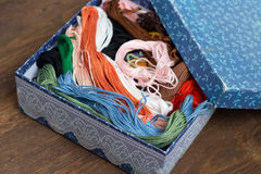 Skeins of colored embroidery thread in box Royalty Free Stock Image