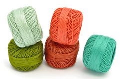 Skeins of colored yarn Stock Photo