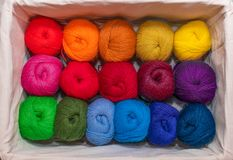 Skeins of colorful threads in a warm colors for embroidery and sewing in the box stock photos