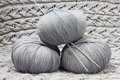 Skeins with knitting needles Royalty Free Stock Photo