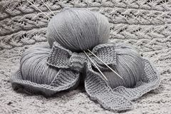 Skeins with knitting needles Stock Image