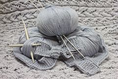 Skeins with knitting needles Royalty Free Stock Photos