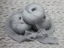 Skeins with knitting needles Royalty Free Stock Image