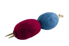 Skeins and knitting needles Royalty Free Stock Images