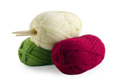 Skeins and knitting needles Stock Photo