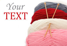 Skeins of wool  and knitting needles Stock Photo