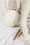 Skeins of wool and knitting needles from bamboo Royalty Free Stock Photos