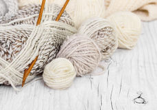Skeins of wool and knitting needles Stock Image