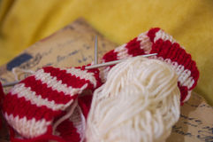 Skeins of wool and knitting needles Stock Photos