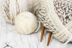 Skeins of wool yarn and knitting needles Royalty Free Stock Photos