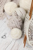 Skeins of wool yarn and knitting needles from bamboo Stock Images