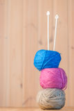 Skeins of wool yarn and knitting needles Royalty Free Stock Photo