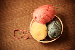 Skeins of yarn in a basket with knitting needles. Vintage style Royalty Free Stock Images