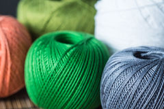 Skeins of yarn of different colors Stock Photography