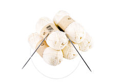 Skeins of yarn and knitting needles Stock Photography