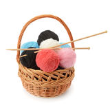 Skeins of yarn and knitting needles Stock Photo