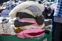 Skeins of yarn stack at a yarn shop Royalty Free Stock Photo
