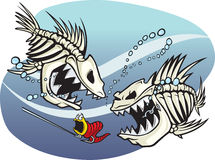 Skelefish. A pair of wicked cartoon skeleton fish. Vector and high resolution jpeg files available Stock Photo