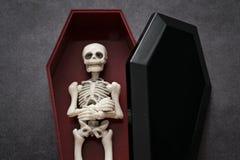 Skelet in de doodskist Royalty-vrije Stock Foto's