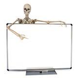 Skelet die over een schone tellers witte raad leunen die aan reclame richten stock illustratie