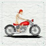 Skelet die uitstekende Motorfiets berijden Royalty-vrije Stock Foto's