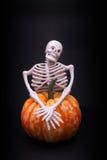 Skelet en pompoen Royalty-vrije Stock Afbeelding