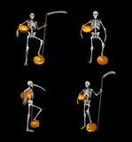 Skelet en pompoen Royalty-vrije Stock Afbeeldingen