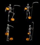 Skelet en pompoen Royalty-vrije Stock Fotografie