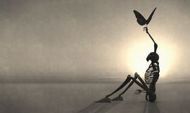 skelet en vlinder Royalty-vrije Stock Foto's