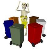Skelet met bakken voor diverse types van afval Royalty-vrije Stock Fotografie