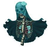 Skelet met sluier en witte rozen Royalty-vrije Stock Afbeeldingen