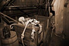 Skelet in uitstekende koffer Royalty-vrije Stock Afbeelding