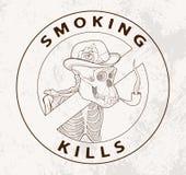 Skelet van gorilla rokende pijp Stock Afbeelding