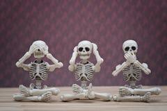 Skelet 3 wijze apen Stock Foto