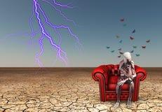 Skeletal figure contemplates. In desert Royalty Free Stock Image