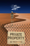 Skeletal Figure in Desert. Behind private property sign on fence Royalty Free Stock Photos