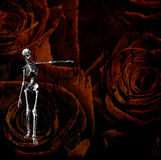 Skeletal figure and rose grunge Stock Image